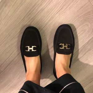 Ferragamo Black suede loafers